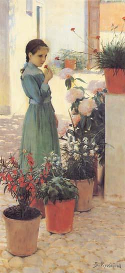 """Teresa Mirabent i Planes, la """"Nena de la Clavellina"""" de Santiago Rusiñol (1893), Museu del Cau Ferrat"""