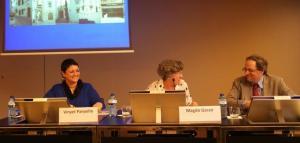 Vinyet Panyella, Magda Gassó i Quim Torra durant la presentació del projecte de Sitges. Fot. Carles Arola