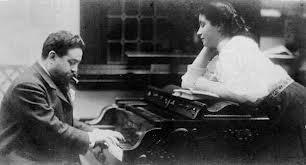 Laura Albèniz amb el seu pare, el compositor Isaac Albèniz.