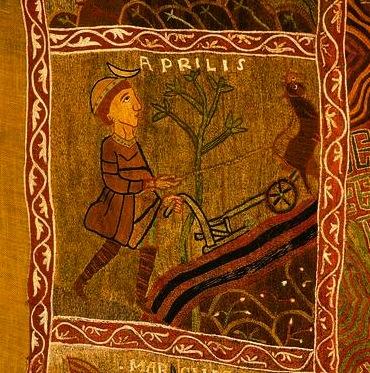 El mes d'abril, al Tapís de la Creació que es conserva a la Catedral de Girona (s.XI)