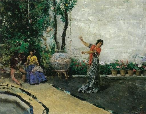 Marià Fortuny, Bohèmia ballant en un pati (1872). Col. part.