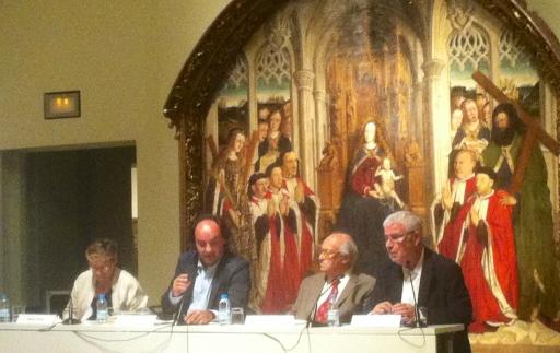 Mercè Vidal, Pepe Serra, Pau Verrié i Joan Sureda parlen de Joaquim Folch i Torrres al MNAC (2013). Fot. Frèia Berg