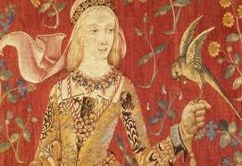 La dame à la licorne (fragament de la sèrie de tapisos flamencs del s. XV, Musée de Cluny, Paris)