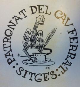 El logo del Museu del Cau Ferrat va utilitzar el monograma que Santiago Rusiñol va dibuixar (1897, Museu del Cau Ferrat) i des d'aquell moment va incorporar a les seves obres a manera de marca.