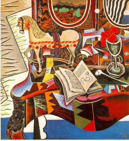 Joan Miró, Cavall, pipa i flor vermella (1920). Art Museum, Philadelphia, USA
