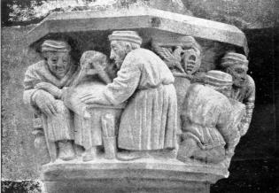 Pere Jou, Els constructors de Maricel. Capitell del Palau de Maricel, situat a la façana del carrer de Fonollar. 1918.