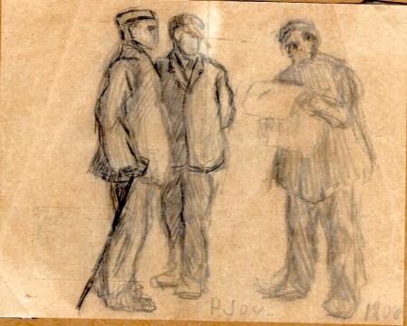 Pere Jou, Escena de carrer amb tres homes, un d'ells llegint el diari (1908).